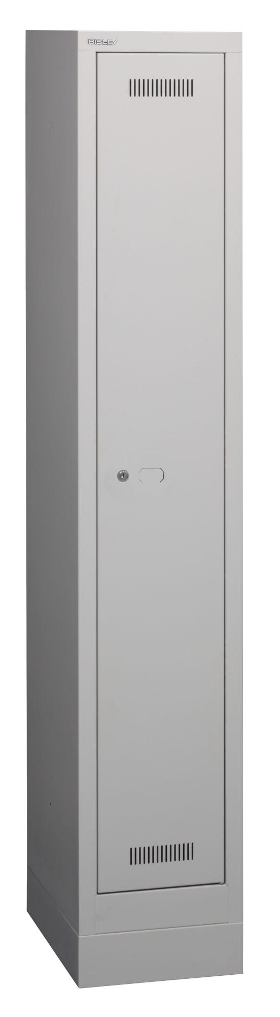 Bisley Garderobenschrank MonoBloc™mit Sockel, 1 Abteil, 1 Fach, Farbe lichtgrau