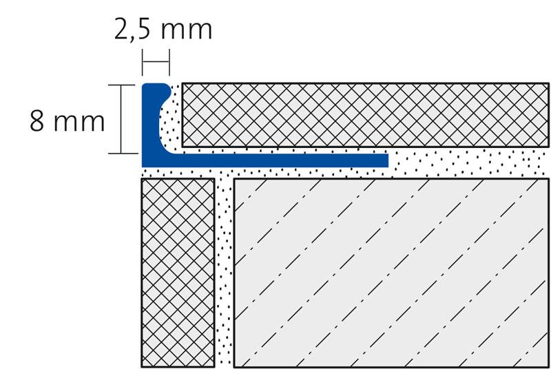 ALU FLEX-PROFIL 8mm biegbar, silber eloxiert, Länge 250cm