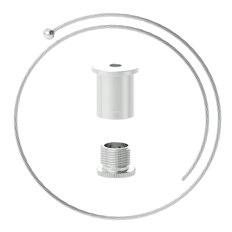 Abhängeset für höhere Lasten bestehend aus Deckenbefestiger, Drahtseil ø1,8mm, L=1500mm