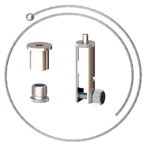 Abhängeset für Displays bis 6mm Stärke, Drahtseil ø1,5mm