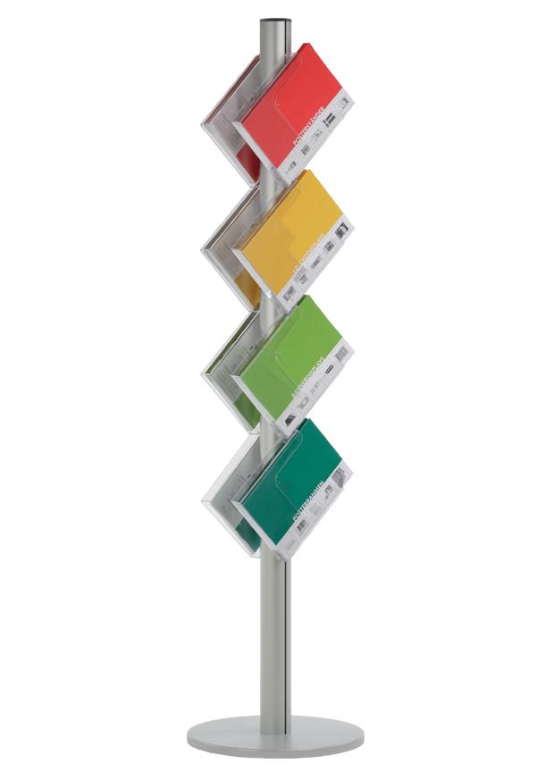 Prospektständer Obelisk doppelseitig mit 8x DIN A4 Prospektablagen
