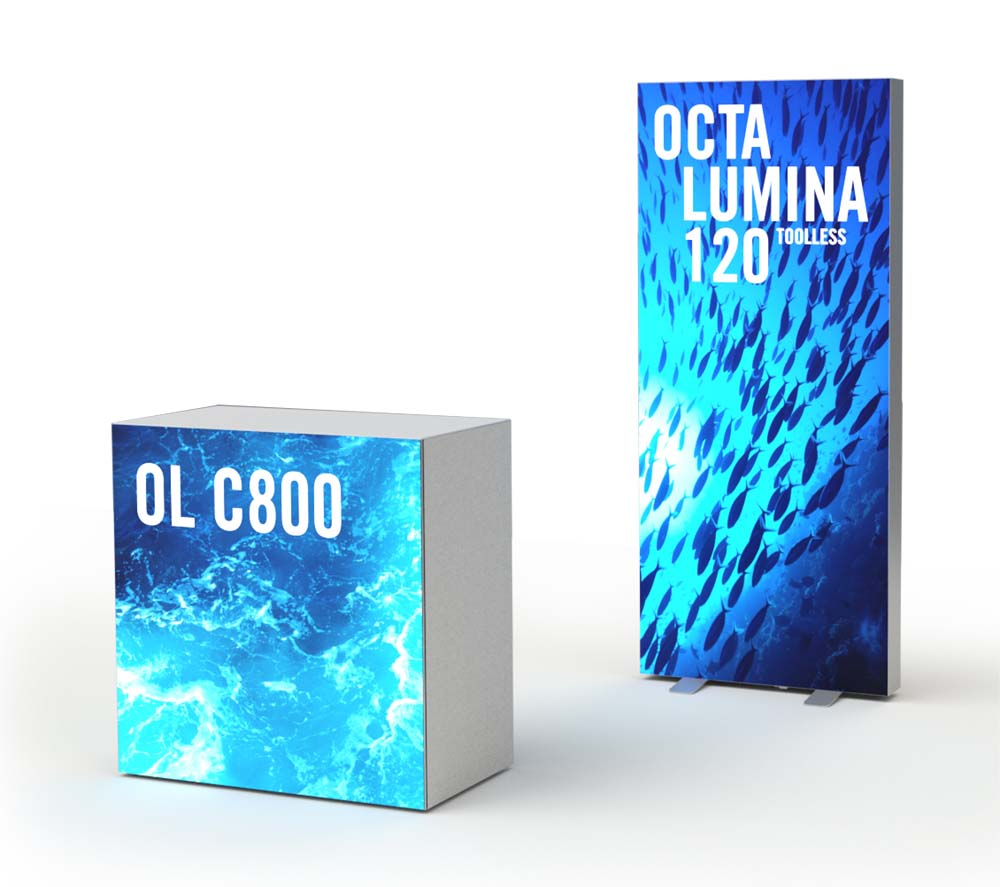 Octalumina Promotionstand 800 x 1800mm mit Counter