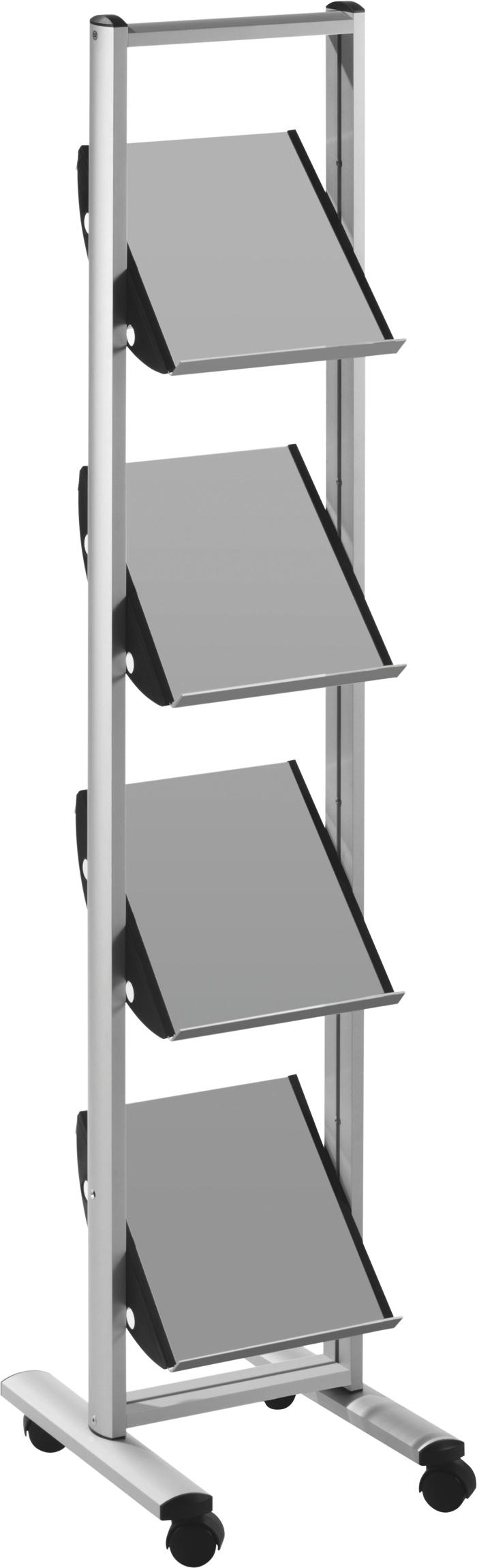 helit © Prospektregal schmal 4 x A4 aus Acryl oder Metall 02
