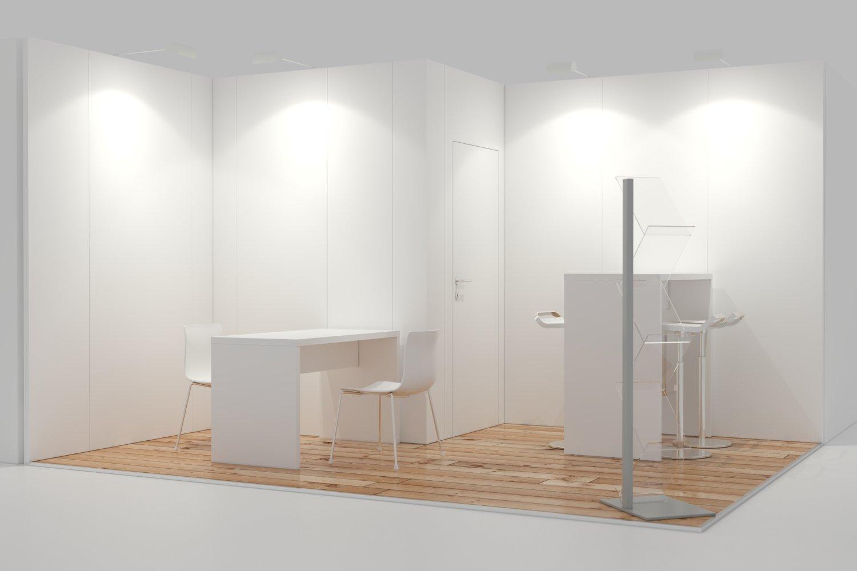 Leichtbau Messewand System 5x3m Eckstand mit Kabine