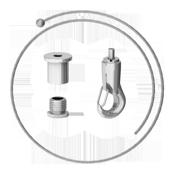 Abhängeset mit Haken-Gripper, Drahtseil ø1,5mm, L = 1500mm