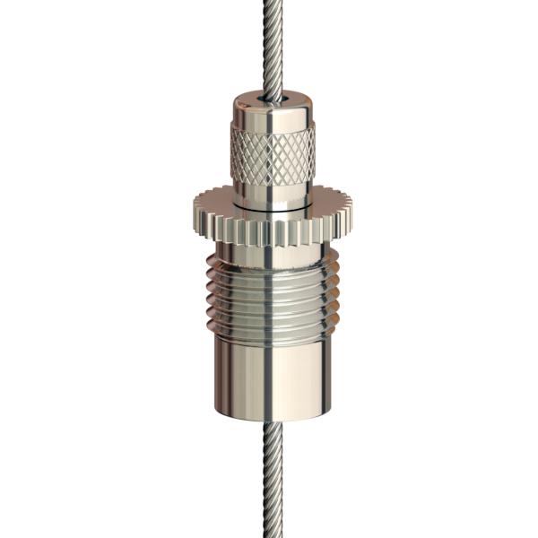 Drahtseilhalter Gripper 15 M10x1 mit Sicherungsmutter; vernickelt; max. Seil Ø1,5mm