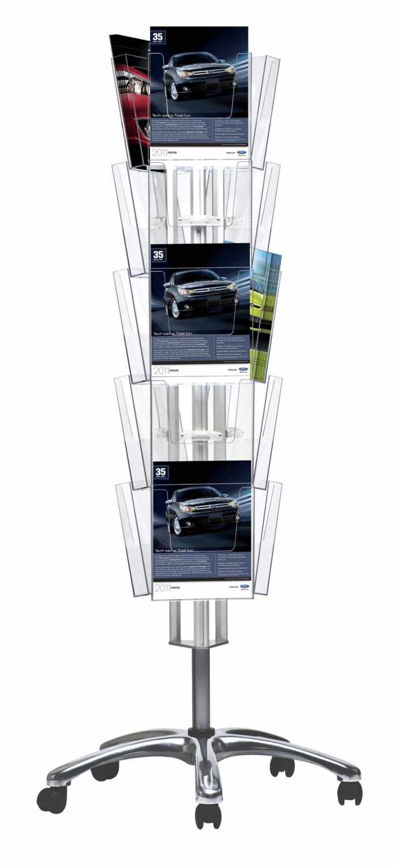 Boden Prospektständer Multiside 3-seitig, drehbar, inkl. 15 Prospekttaschen