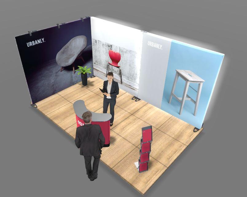 5x3m Expand System Eckstand mit LightBoxen