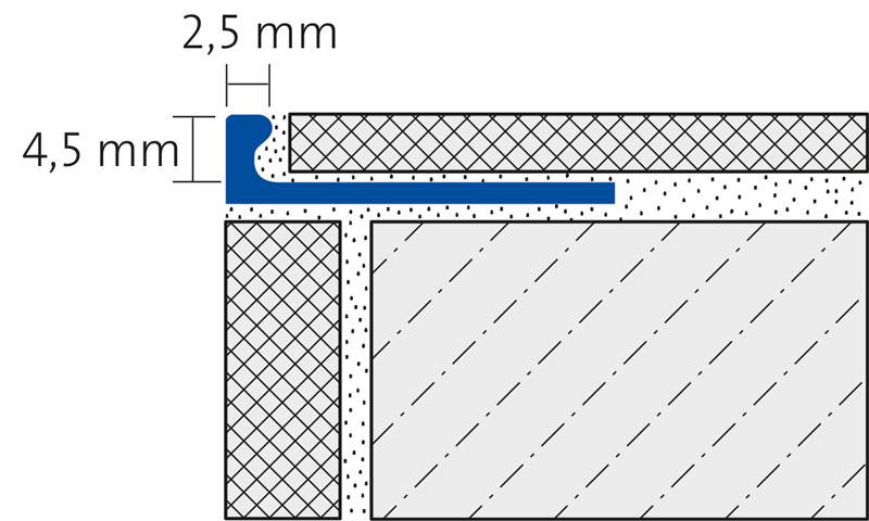ALU FLEX-PROFIL 4,5mm biegbar, silber eloxiert, Länge 250cm