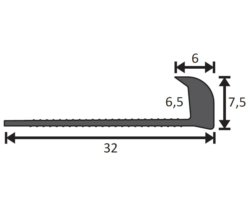 Abschlussprofil 7,5mm, Länge 400cm aus Hart-PVC