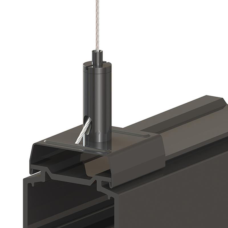 Drahtseilhalter Gripper 15 SE mit Stromschienenclip passend für Eutrac; max. Seil Ø1,5mm