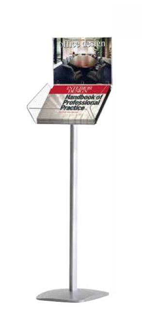 Dekorativer Boden-Prospektständer Plus mit Top-Schild