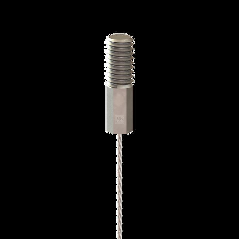 Drahtseil ø 1,0mm, mit verpresstem Gewindeterminal M4x10