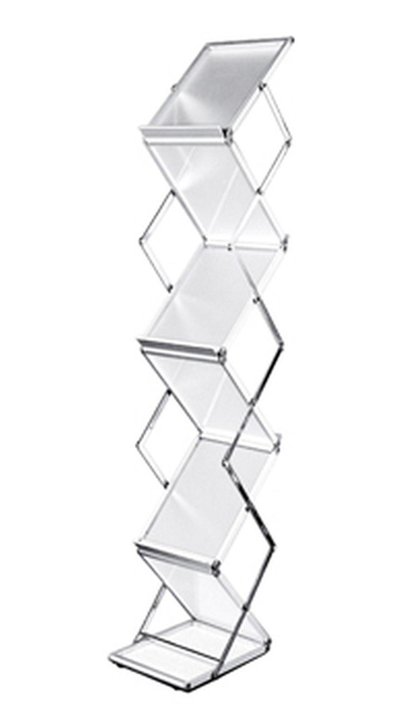 Falt-Prospektständer Acryl glasklar inkl. Alu Tragekoffer