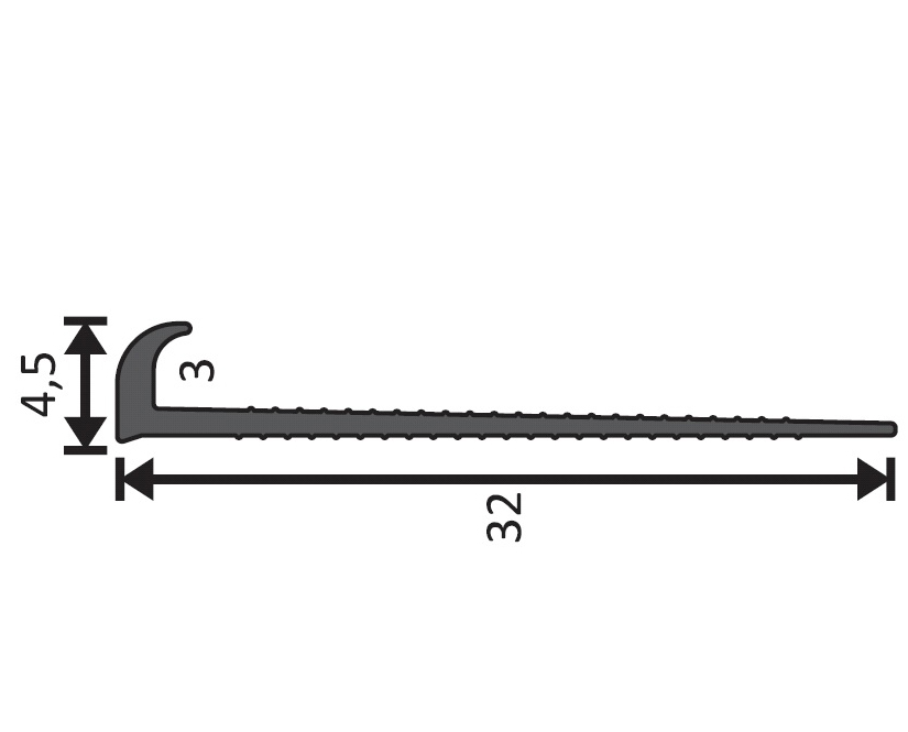 Abschlussprofil 4,5mm, Länge 400cm aus Hart-PVC