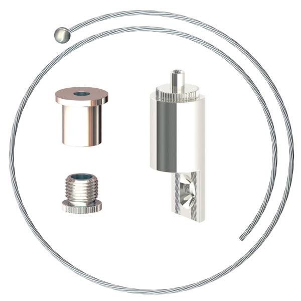 Abhängeset für Displays mit seitlicher Anschraubmöglichkeit bis 6mm Stärke, Drahtseil ø1,5mm