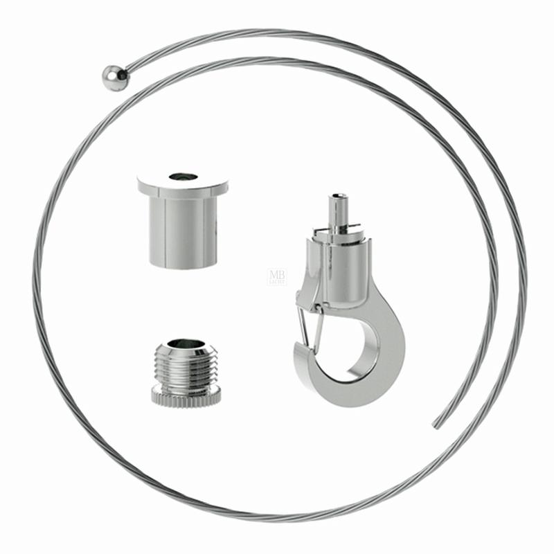 Abhängeset mit kleinem Haken-Gripper, Drahtseil ø1,0mm, L = 5000mm